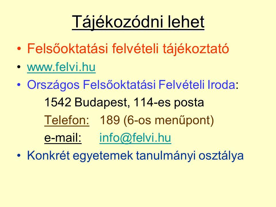 Naptár: Címek, telefonszámok Intézményenkénti igények Vizsgaidőpontok (alkalmassági is) Érettségi bizonyítvány, egyéb dokumentumok pótlólagos bemutatásáról