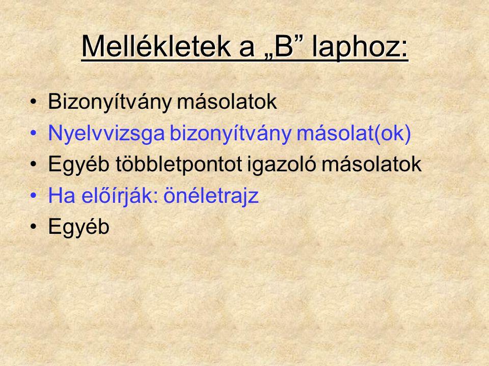 """Mellékletek a """"B laphoz: Bizonyítvány másolatok Nyelvvizsga bizonyítvány másolat(ok) Egyéb többletpontot igazoló másolatok Ha előírják: önéletrajz Egyéb"""