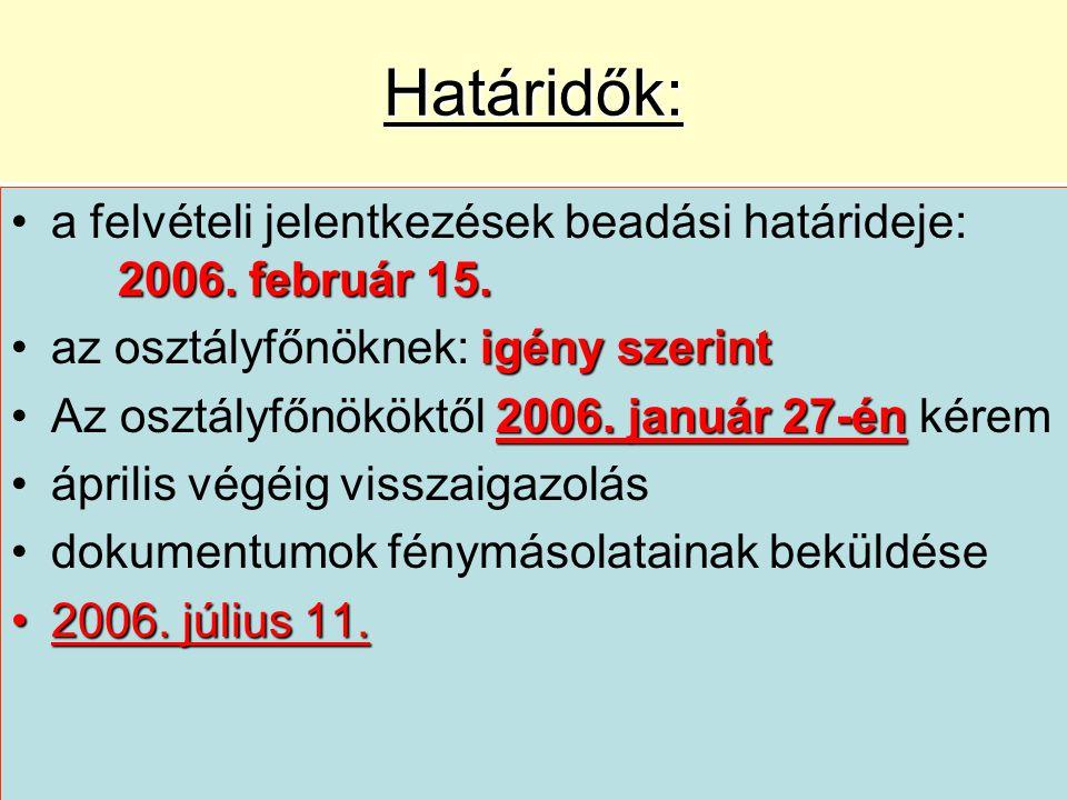 Határidők: 2006. február 15.a felvételi jelentkezések beadási határideje: 2006.