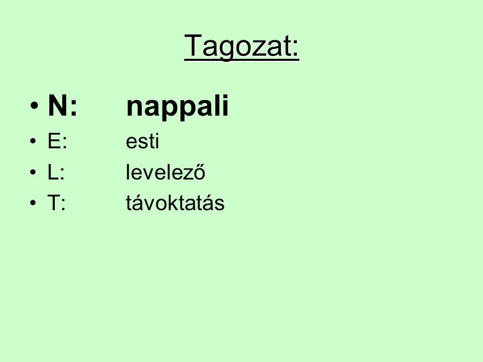 Tagozat: N:nappali E:esti L:levelező T:távoktatás