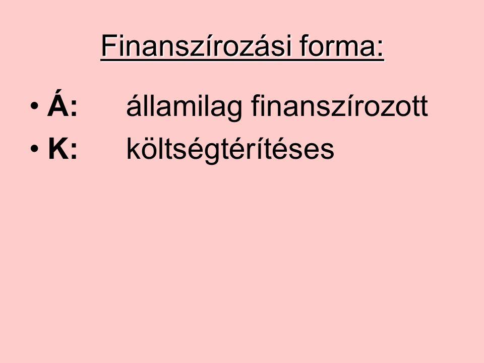 Finanszírozási forma: Á:államilag finanszírozott K:költségtérítéses