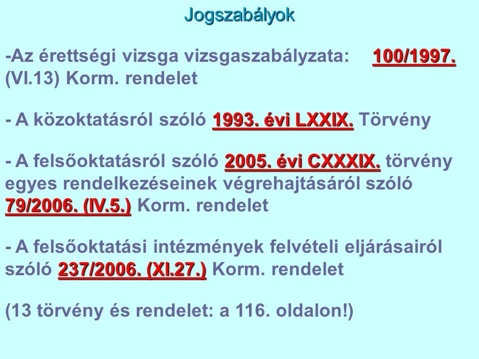 Jogszabályok 100/1997. -Az érettségi vizsga vizsgaszabályzata: 100/1997. (VI.13) Korm. rendelet 1993. évi LXXIX. - A közoktatásról szóló 1993. évi LXX