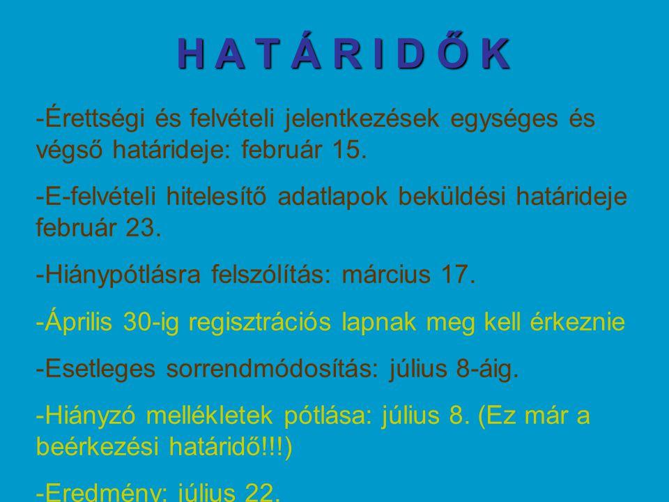 H A T Á R I D Ő K -Érettségi és felvételi jelentkezések egységes és végső határideje: február 15. -E-felvételi hitelesítő adatlapok beküldési határide