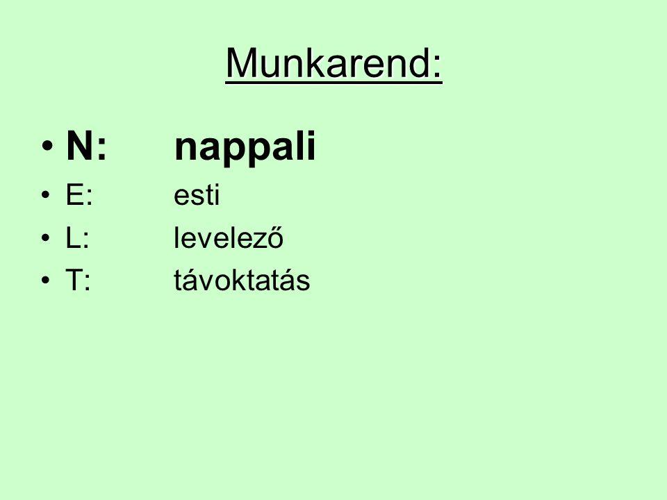 Munkarend: N:nappali E:esti L:levelező T:távoktatás