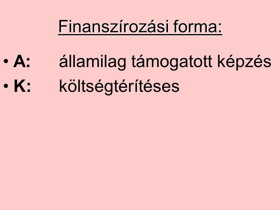 Finanszírozási forma: A:államilag támogatott képzés K:költségtérítéses