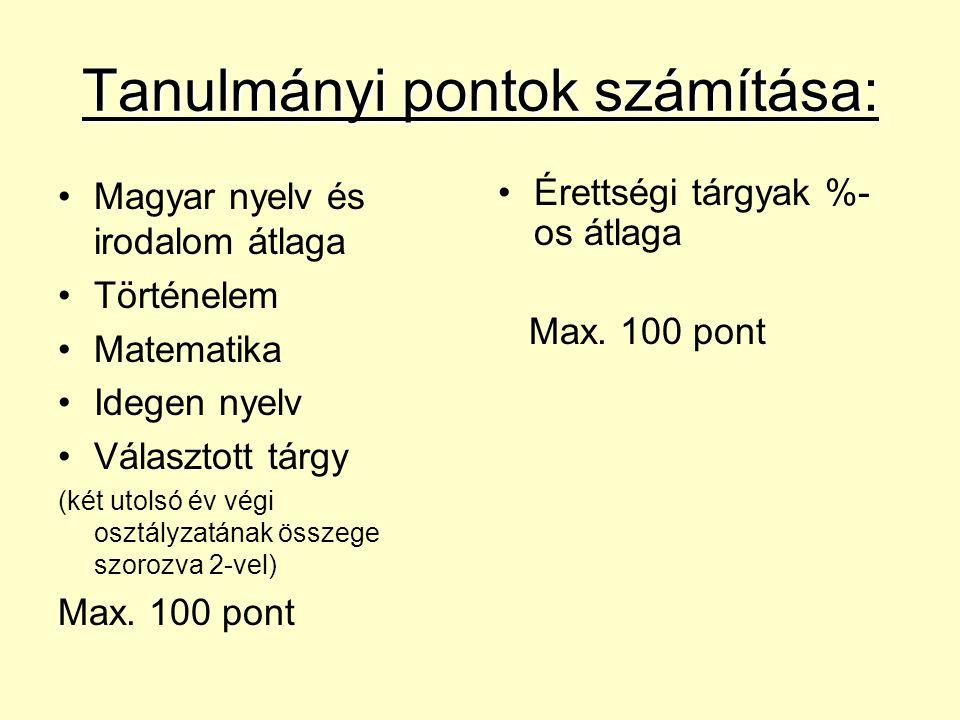Tanulmányi pontok számítása: Magyar nyelv és irodalom átlaga Történelem Matematika Idegen nyelv Választott tárgy (két utolsó év végi osztályzatának ös