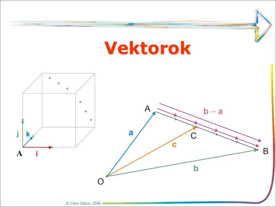 I. Vektor fogalma, tulajdonságai © Vidra Gábor, 2006. Vektornak nevezzük az irányított szakaszt.