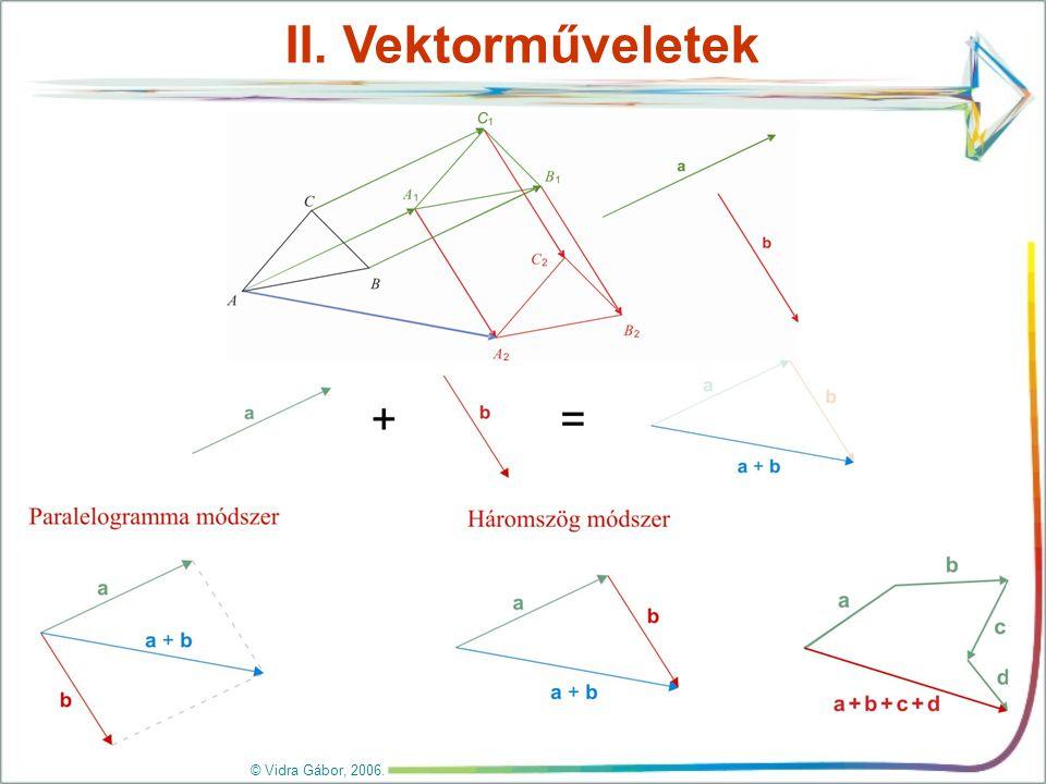 Vektorműveletek Mintapélda 2 Megoldás: Másold át a füzetedbe az a, a b és a c vektort, és szerkeszd meg az alábbi vektorokat: a) a + b; b) b + a; c) a + b + c; d) a + (b + c); e) (a + b) + c.