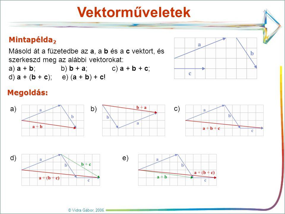 Vektorok kivonása Az a és b vektorok különbségét úgy képezzük, hogy közös kezdőpontból mérjük fel őket.