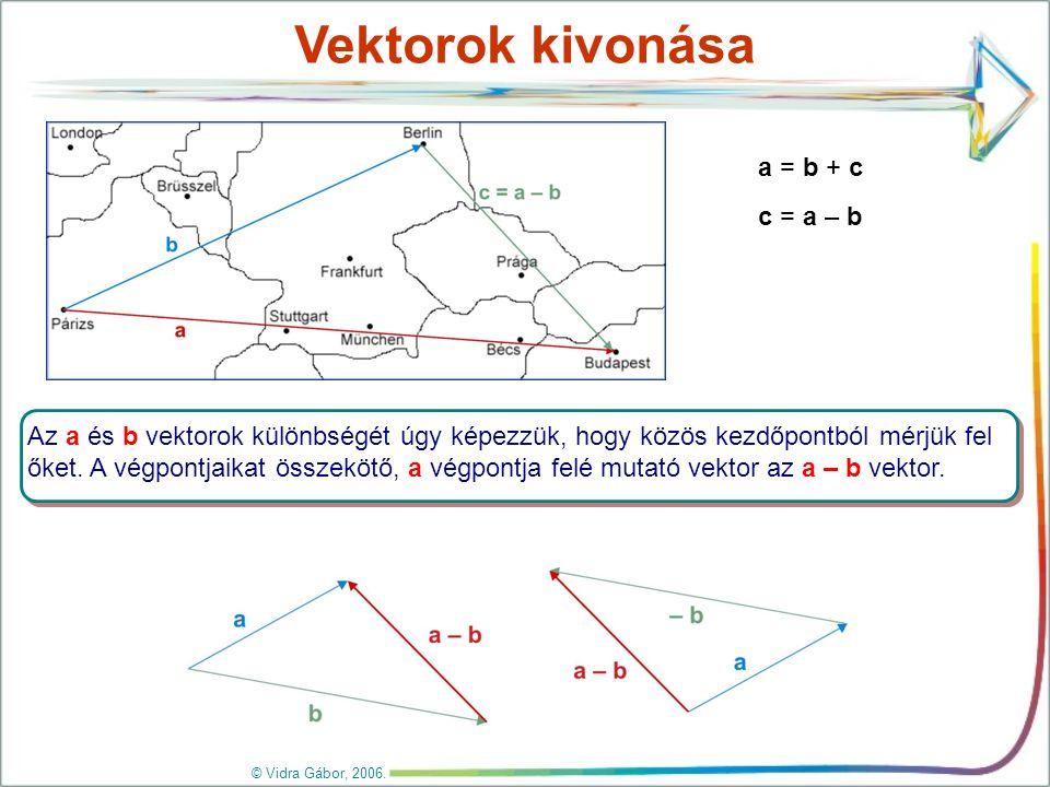 Vektor szorzása számmal c = 2b b = – a = –1·a c = 2·(–1·a) = –2·a Az a vektor k-szorosa (k  R, vagyis k egy valós szám) az a vektor, amelynek hossza |k|·|a|, iránya pedig k > 0 esetén a irányával megegyező, k < 0 esetén a irányával ellentétes.