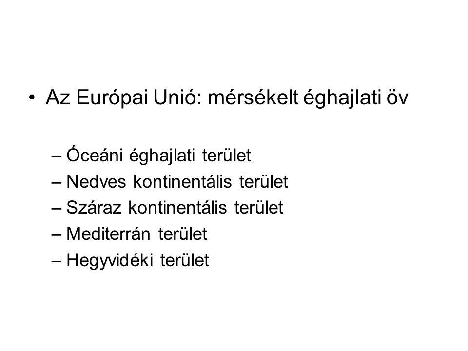Az Európai Unió: mérsékelt éghajlati öv –Óceáni éghajlati terület –Nedves kontinentális terület –Száraz kontinentális terület –Mediterrán terület –Heg