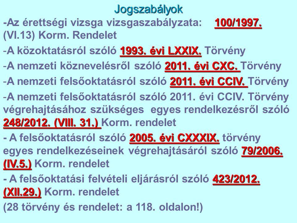 Jogszabályok 100/1997. -Az érettségi vizsga vizsgaszabályzata: 100/1997. (VI.13) Korm. Rendelet 1993. évi LXXIX. -A közoktatásról szóló 1993. évi LXXI
