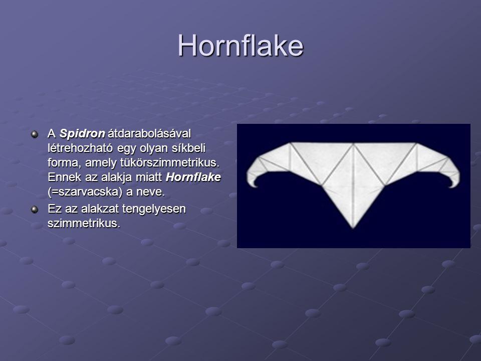 Hornflake A Spidron átdarabolásával létrehozható egy olyan síkbeli forma, amely tükörszimmetrikus. Ennek az alakja miatt Hornflake (=szarvacska) a nev