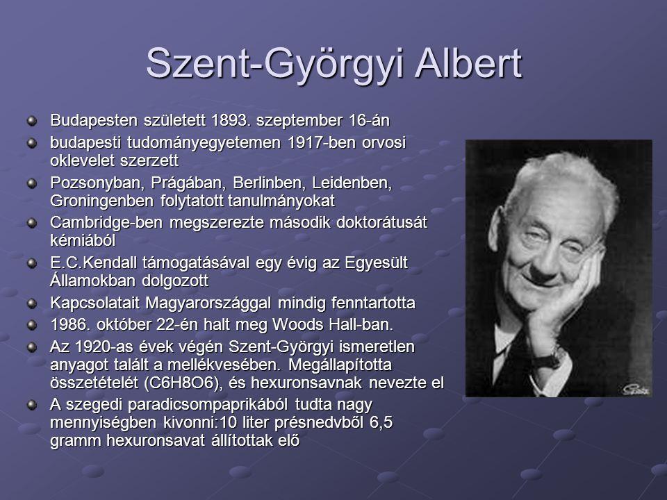 Szent-Györgyi Albert Budapesten született 1893. szeptember 16-án budapesti tudományegyetemen 1917-ben orvosi oklevelet szerzett Pozsonyban, Prágában,