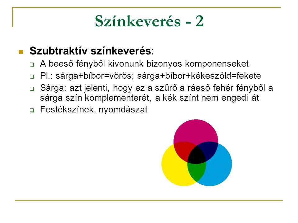 Színkeverés - 2 Szubtraktív színkeverés:  A beeső fényből kivonunk bizonyos komponenseket  Pl.: sárga+bíbor=vörös; sárga+bíbor+kékeszöld=fekete  Sárga: azt jelenti, hogy ez a szűrő a ráeső fehér fényből a sárga szín komplementerét, a kék színt nem engedi át  Festékszínek, nyomdászat