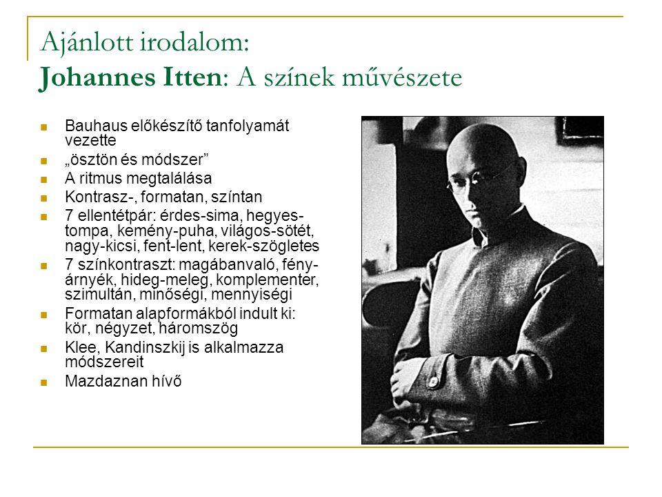 """Ajánlott irodalom: Johannes Itten: A színek művészete Bauhaus előkészítő tanfolyamát vezette """"ösztön és módszer A ritmus megtalálása Kontrasz-, formatan, színtan 7 ellentétpár: érdes-sima, hegyes- tompa, kemény-puha, világos-sötét, nagy-kicsi, fent-lent, kerek-szögletes 7 színkontraszt: magábanvaló, fény- árnyék, hideg-meleg, komplementer, szimultán, minőségi, mennyiségi Formatan alapformákból indult ki: kör, négyzet, háromszög Klee, Kandinszkij is alkalmazza módszereit Mazdaznan hívő"""