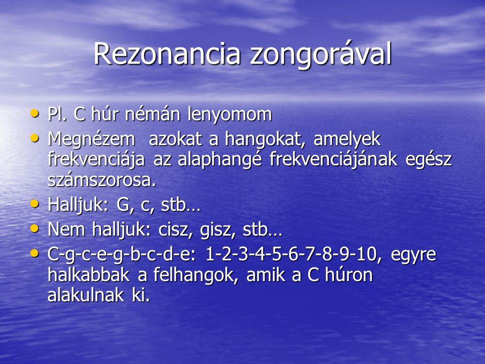 Hangközök konszonancia - disszonancia Prím – 1:1 Prím – 1:1 Kvart – 4:3 Kvart – 4:3 Kvint – 3:2 Kvint – 3:2 Oktáv – 2:1 Oktáv – 2:1 Nagy terc – 5:4 Nagy terc – 5:4 Kisszekund – 15:16 Kisszekund – 15:16