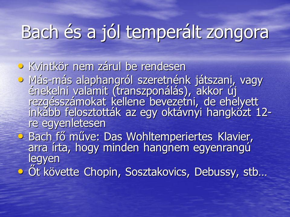 Bach és a jól temperált zongora Kvintkör nem zárul be rendesen Kvintkör nem zárul be rendesen Más-más alaphangról szeretnénk játszani, vagy énekelni v
