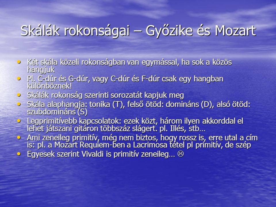 Skálák rokonságai – Győzike és Mozart Két skála közeli rokonságban van egymással, ha sok a közös hangjuk Két skála közeli rokonságban van egymással, h