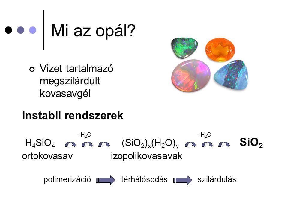 Mi az opál? Vizet tartalmazó megszilárdult kovasavgél instabil rendszerek H 4 SiO 4 (SiO 2 ) x (H 2 O) y SiO 2 ortokovasav izopolikovasavak polimerizá