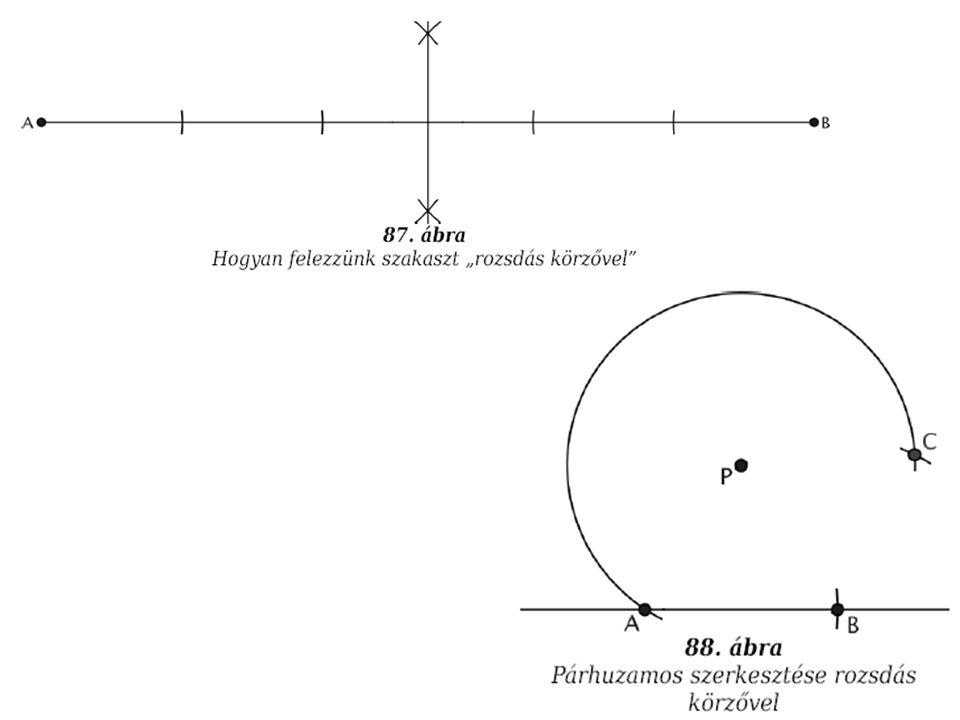 """A és B közti felezőpont keresése egy adott kör középpontjának meghatározása """"Napóleon problémája (egy kör négy egyenlő ívre osztása egy körzővel, ha adott a középpontja) Mascheroni: 6 ív Fitch Cheney: 5 ív Mascheroni-Mohr"""