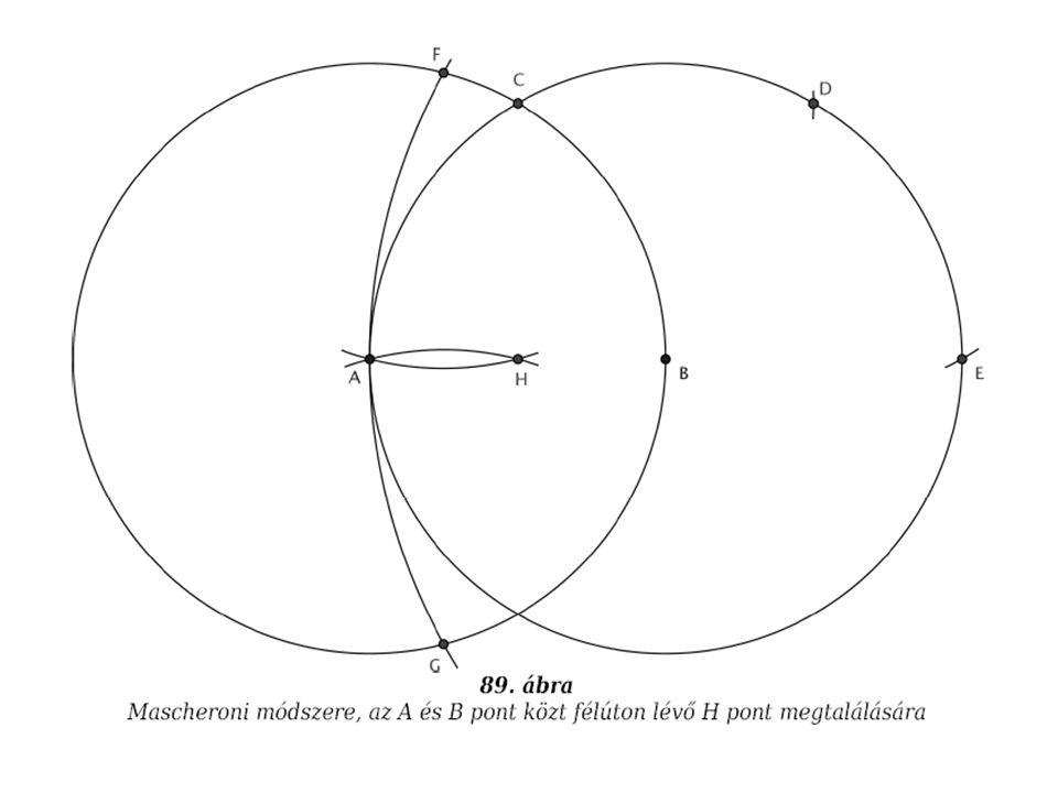 Mascheroni-Mohr A és B közti felezőpont keresése egy adott kör középpontjának meghatározása