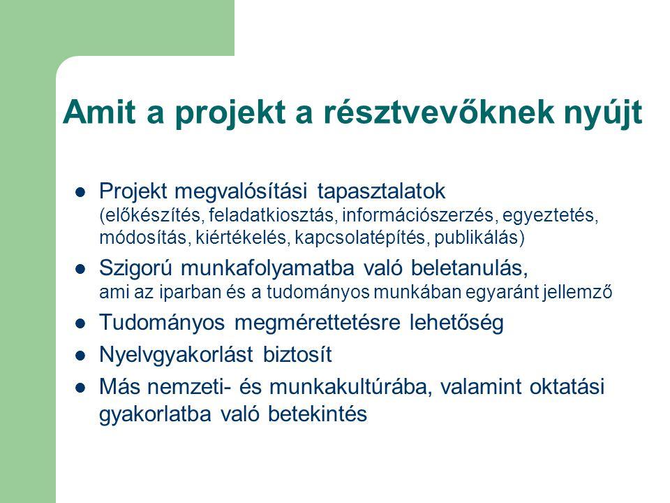 Amit a projekt a résztvevőknek nyújt Projekt megvalósítási tapasztalatok (előkészítés, feladatkiosztás, információszerzés, egyeztetés, módosítás, kiér