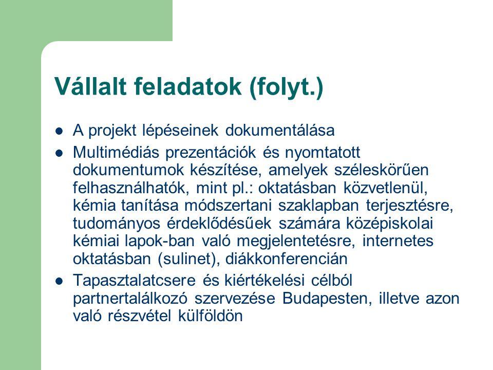 Vállalt feladatok (folyt.) A projekt lépéseinek dokumentálása Multimédiás prezentációk és nyomtatott dokumentumok készítése, amelyek széleskörűen felh