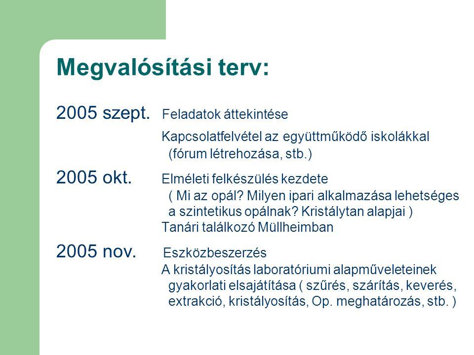 Megvalósítási terv: 2005 szept. Feladatok áttekintése Kapcsolatfelvétel az együttműködő iskolákkal (fórum létrehozása, stb.) 2005 okt. Elméleti felkés