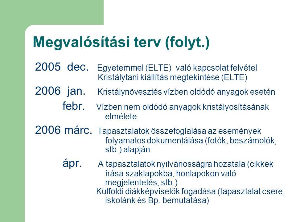 Megvalósítási terv (folyt.) 2005 dec. Egyetemmel (ELTE) való kapcsolat felvétel Kristálytani kiállítás megtekintése (ELTE) 2006 jan. Kristálynövesztés