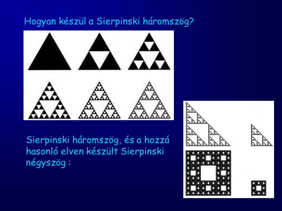Hogyan készül a Sierpinski háromszög? Sierpinski háromszög, és a hozzá hasonló elven készült Sierpinski négyszög :