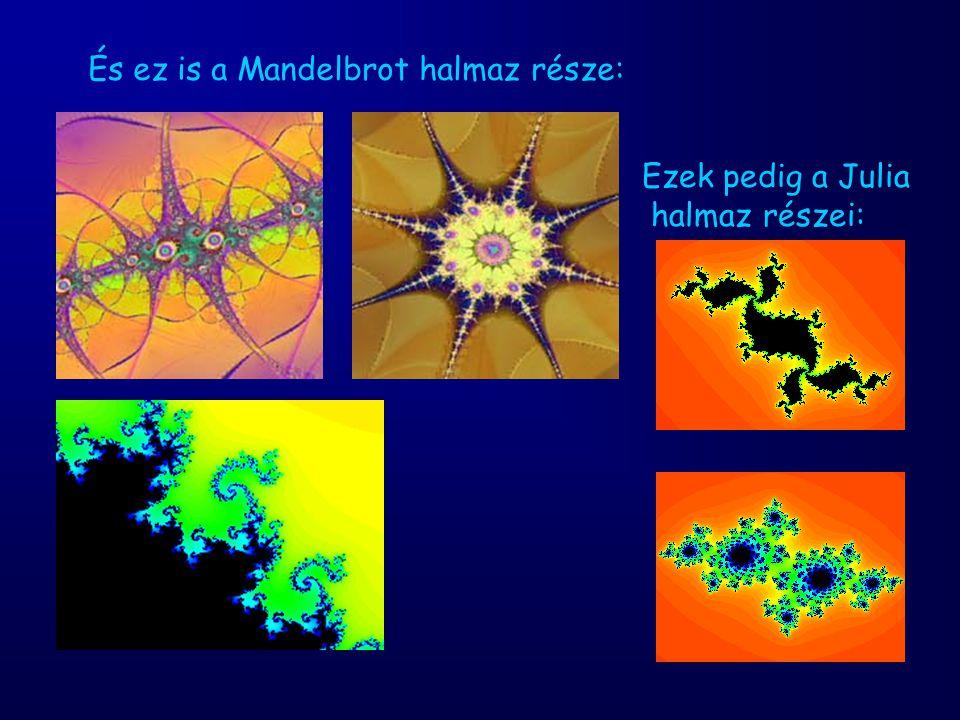 És ez is a Mandelbrot halmaz része: Ezek pedig a Julia halmaz részei:
