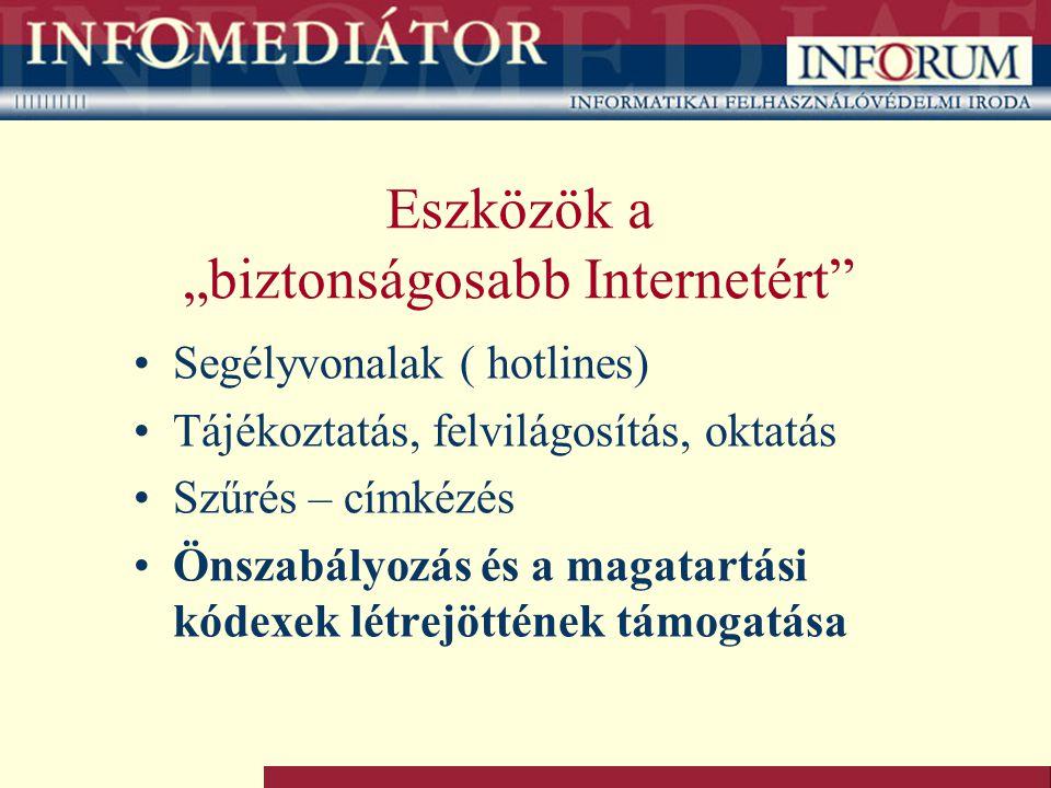 """Eszközök a """"biztonságosabb Internetért Segélyvonalak ( hotlines) Tájékoztatás, felvilágosítás, oktatás Szűrés – címkézés Önszabályozás és a magatartási kódexek létrejöttének támogatása"""