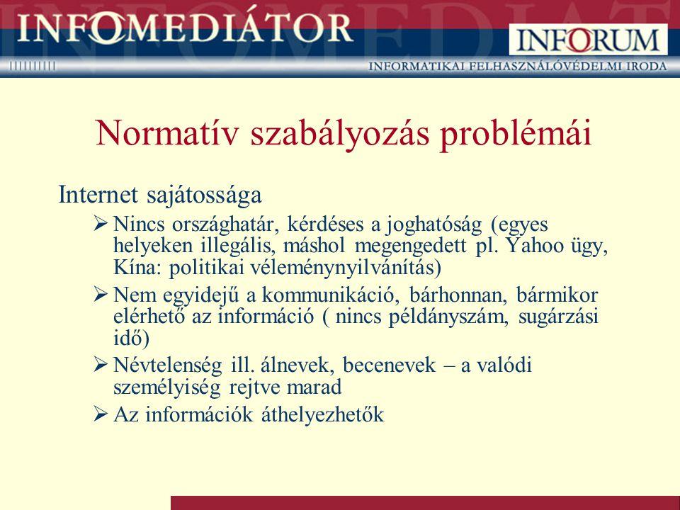 Normatív szabályozás problémái Internet sajátossága  Nincs országhatár, kérdéses a joghatóság (egyes helyeken illegális, máshol megengedett pl. Yahoo