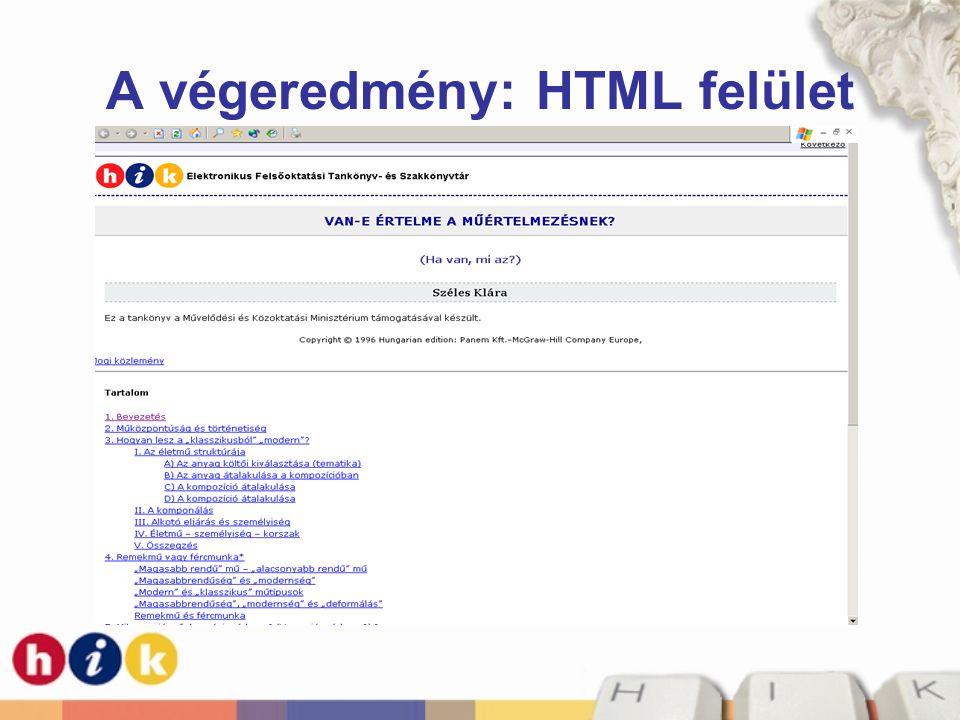 A végeredmény: HTML felület