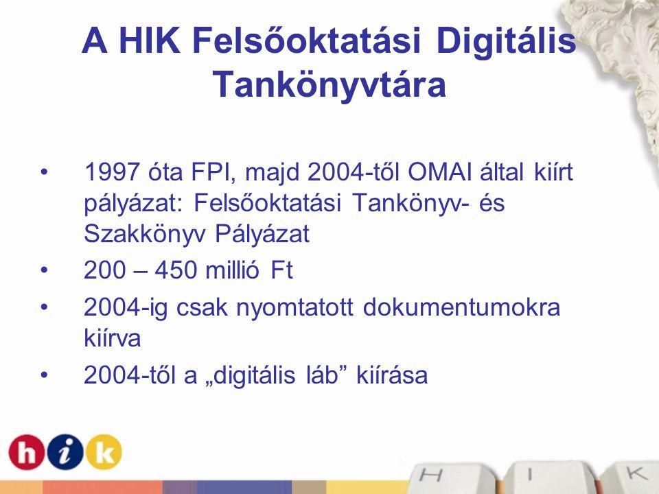 """A HIK Felsőoktatási Digitális Tankönyvtára 1997 óta FPI, majd 2004-től OMAI által kiírt pályázat: Felsőoktatási Tankönyv- és Szakkönyv Pályázat 200 – 450 millió Ft 2004-ig csak nyomtatott dokumentumokra kiírva 2004-től a """"digitális láb kiírása"""