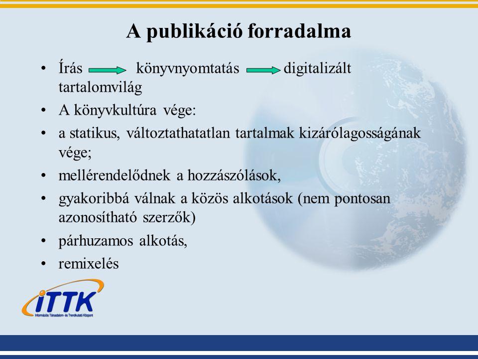 A publikáció forradalma Írás könyvnyomtatás digitalizált tartalomvilág A könyvkultúra vége: a statikus, változtathatatlan tartalmak kizárólagosságának vége; mellérendelődnek a hozzászólások, gyakoribbá válnak a közös alkotások (nem pontosan azonosítható szerzők) párhuzamos alkotás, remixelés