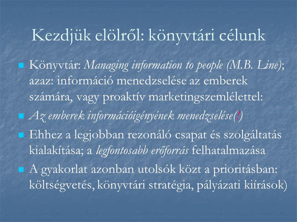 Kezdjük elölről: könyvtári célunk Könyvtár: Managing information to people (M.B.