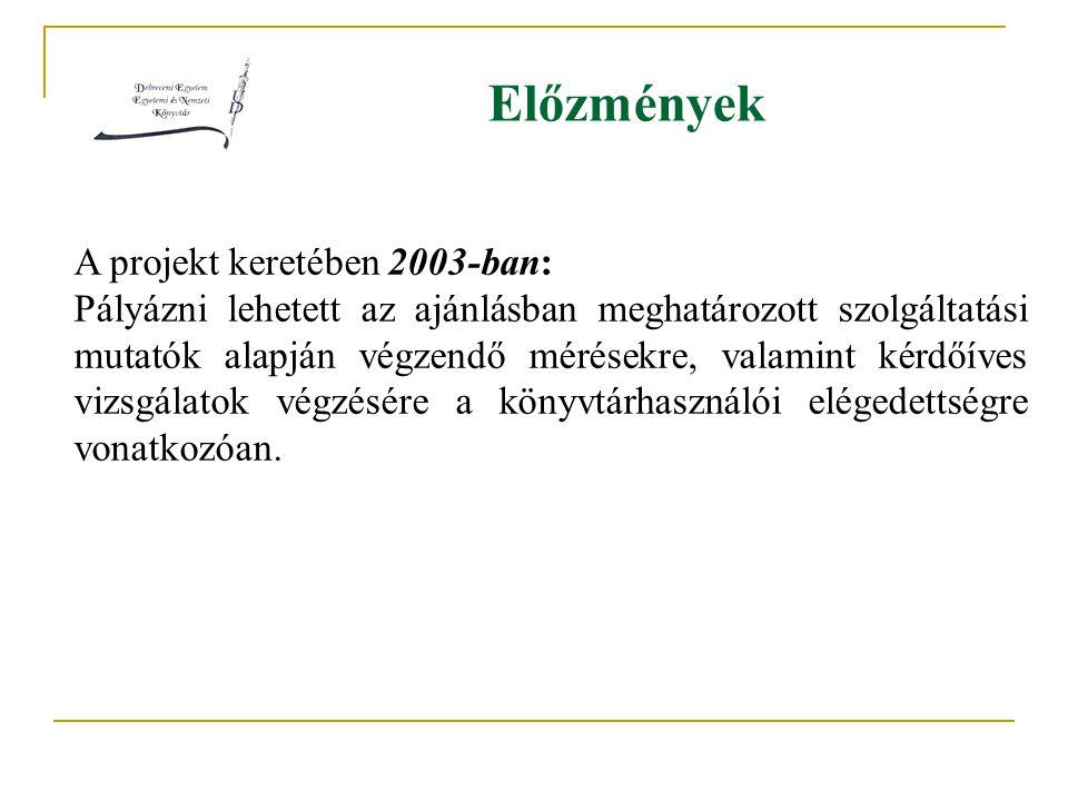 Előzmények A projekt keretében 2003-ban: Pályázni lehetett az ajánlásban meghatározott szolgáltatási mutatók alapján végzendő mérésekre, valamint kérdőíves vizsgálatok végzésére a könyvtárhasználói elégedettségre vonatkozóan.