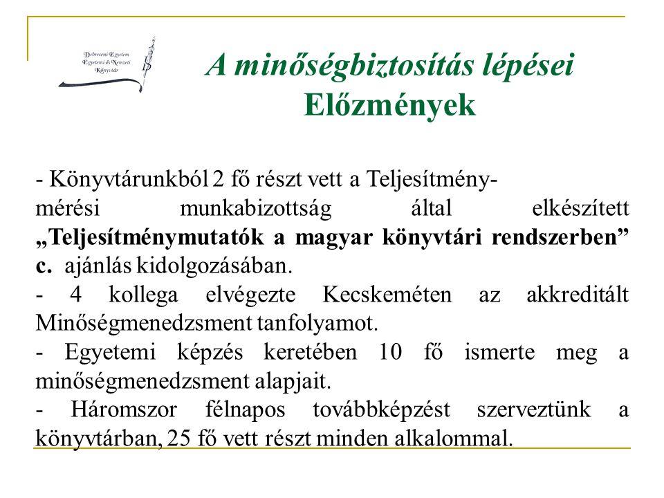 """A minőségbiztosítás lépései Előzmények - Könyvtárunkból 2 fő részt vett a Teljesítmény- mérési munkabizottság által elkészített """"Teljesítménymutatók a magyar könyvtári rendszerben c."""