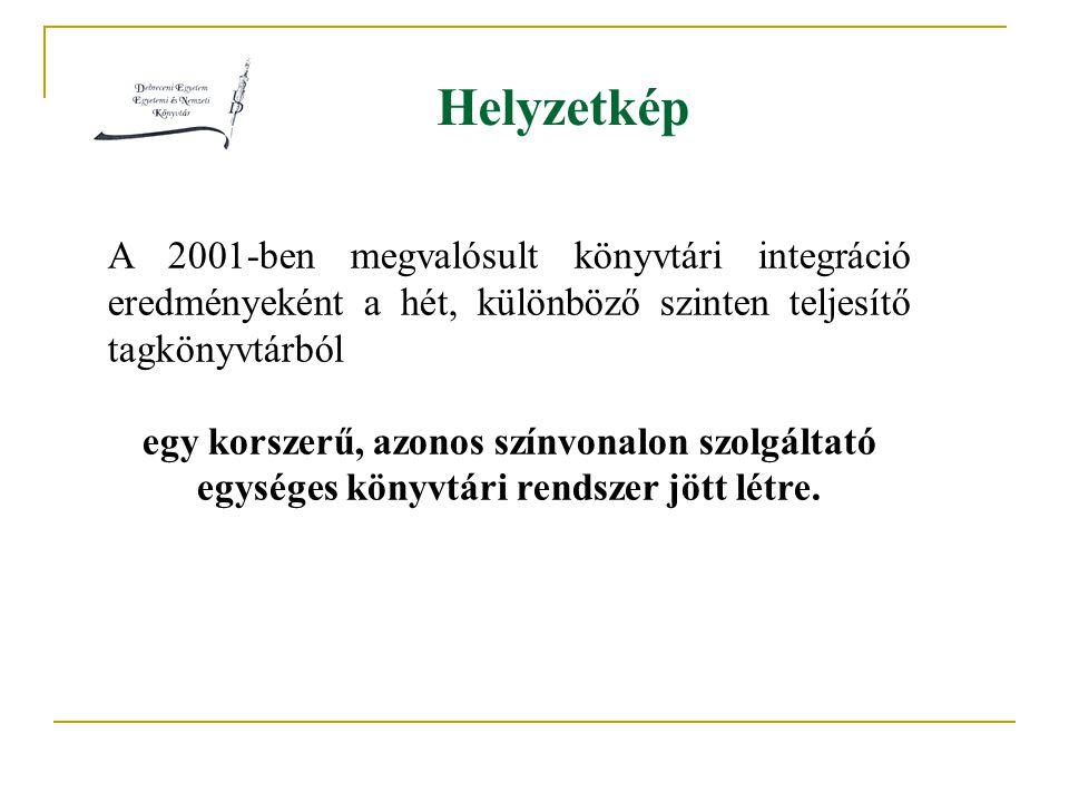 Helyzetkép A 2001-ben megvalósult könyvtári integráció eredményeként a hét, különböző szinten teljesítő tagkönyvtárból egy korszerű, azonos színvonalon szolgáltató egységes könyvtári rendszer jött létre.