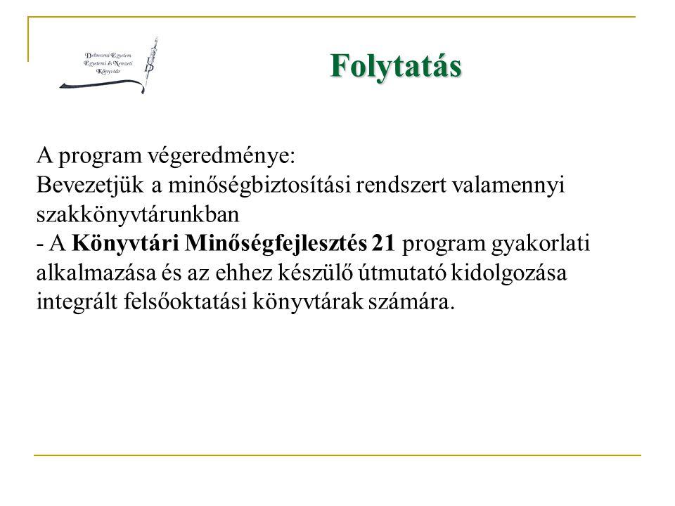 Folytatás A program végeredménye: Bevezetjük a minőségbiztosítási rendszert valamennyi szakkönyvtárunkban - A Könyvtári Minőségfejlesztés 21 program gyakorlati alkalmazása és az ehhez készülő útmutató kidolgozása integrált felsőoktatási könyvtárak számára.