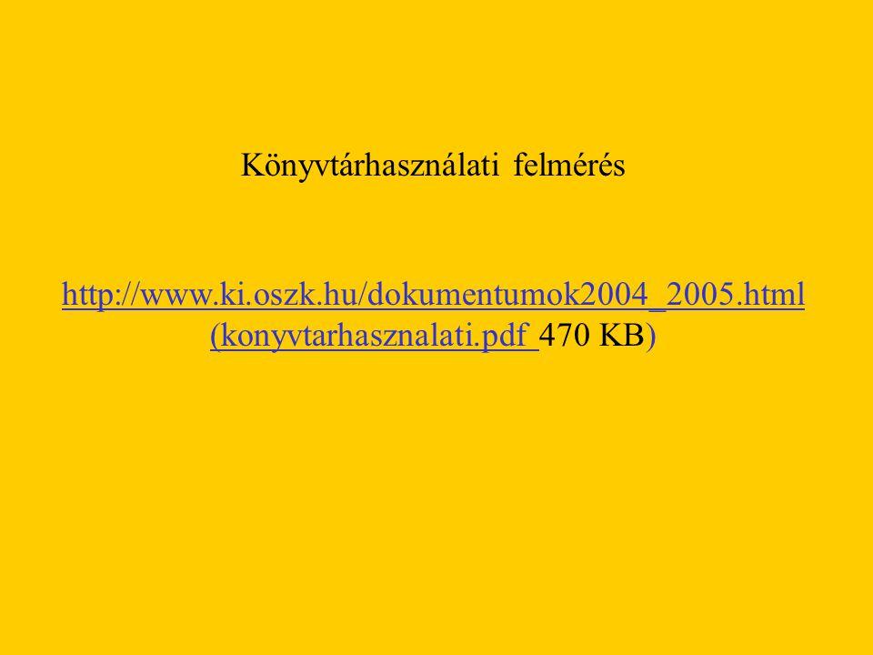 Könyvtárhasználati felmérés http://www.ki.oszk.hu/dokumentumok2004_2005.html (konyvtarhasznalati.pdf 470 KB)