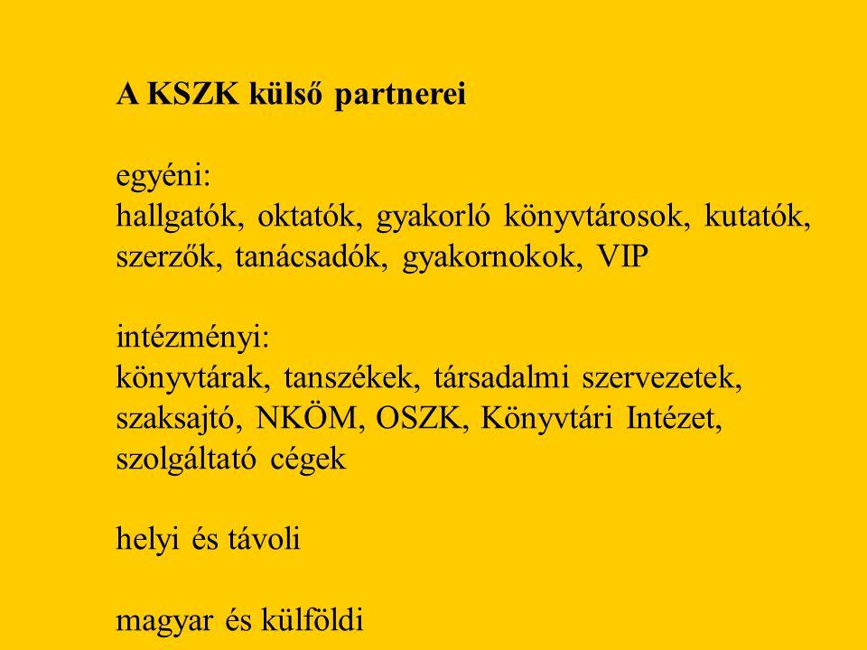 A KSZK külső partnerei egyéni: hallgatók, oktatók, gyakorló könyvtárosok, kutatók, szerzők, tanácsadók, gyakornokok, VIP intézményi: könyvtárak, tanszékek, társadalmi szervezetek, szaksajtó, NKÖM, OSZK, Könyvtári Intézet, szolgáltató cégek helyi és távoli magyar és külföldi