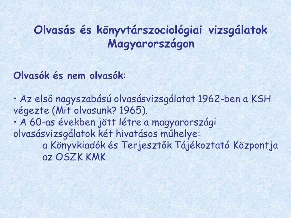 Olvasás és könyvtárszociológiai vizsgálatok Magyarországon Olvasók és nem olvasók: Az első nagyszabású olvasásvizsgálatot 1962-ben a KSH végezte (Mit olvasunk.