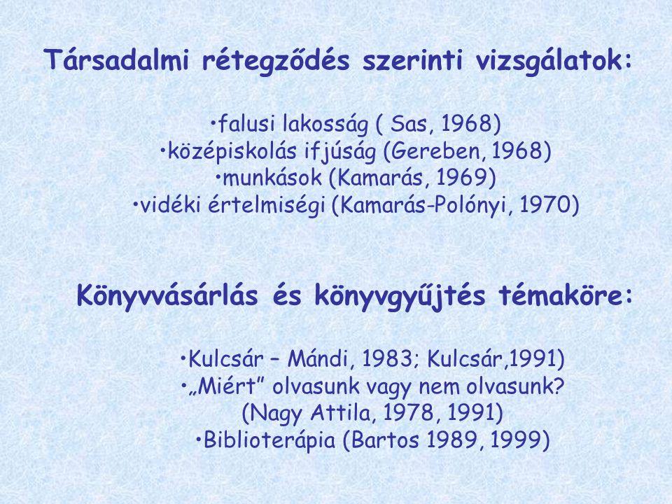 """Társadalmi rétegződés szerinti vizsgálatok: falusi lakosság ( Sas, 1968) középiskolás ifjúság (Gereben, 1968) munkások (Kamarás, 1969) vidéki értelmiségi (Kamarás-Polónyi, 1970) Könyvvásárlás és könyvgyűjtés témaköre: Kulcsár – Mándi, 1983; Kulcsár,1991) """"Miért olvasunk vagy nem olvasunk."""