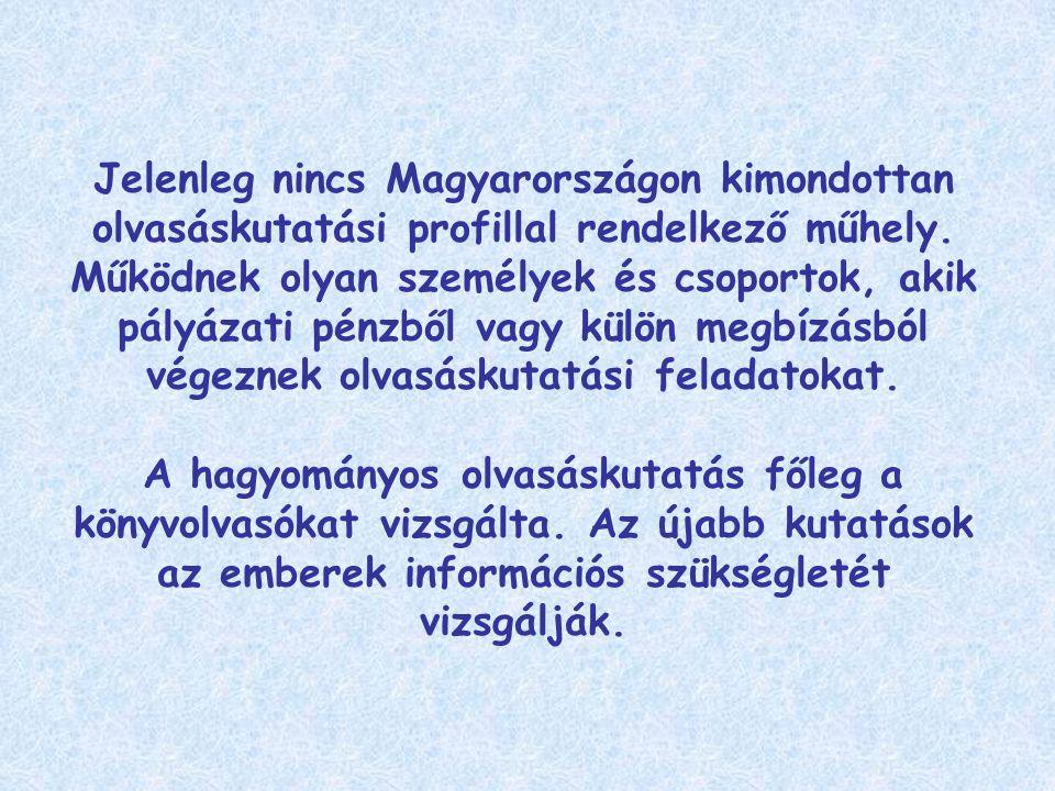 Jelenleg nincs Magyarországon kimondottan olvasáskutatási profillal rendelkező műhely.