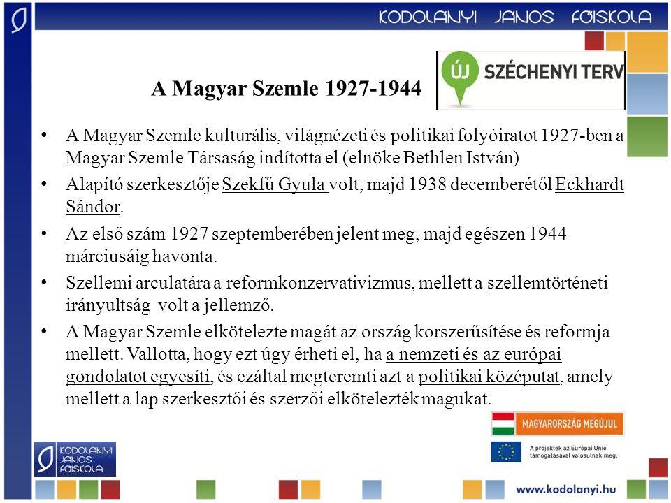 A Magyar Szemle kulturális, világnézeti és politikai folyóiratot 1927-ben a Magyar Szemle Társaság indította el (elnöke Bethlen István) Alapító szerke