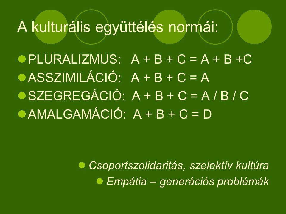 A kulturális együttélés normái: PLURALIZMUS: A + B + C = A + B +C ASSZIMILÁCIÓ: A + B + C = A SZEGREGÁCIÓ: A + B + C = A / B / C AMALGAMÁCIÓ: A + B + C = D Csoportszolidaritás, szelektív kultúra Empátia – generációs problémák