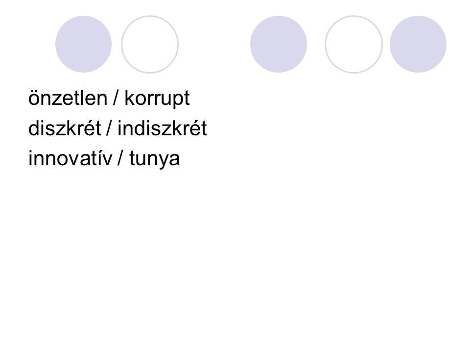 önzetlen / korrupt diszkrét / indiszkrét innovatív / tunya